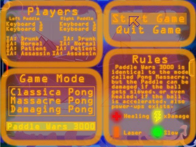 Paddle Wars 3000 menu