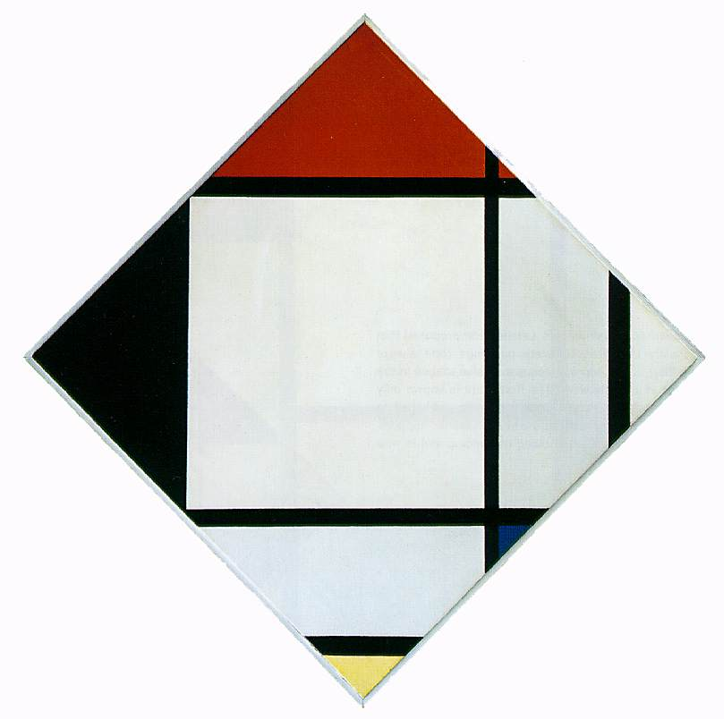 Piet Mondrian's Lozenge Composition with Red, Black, Blue, and Yellow (1925)