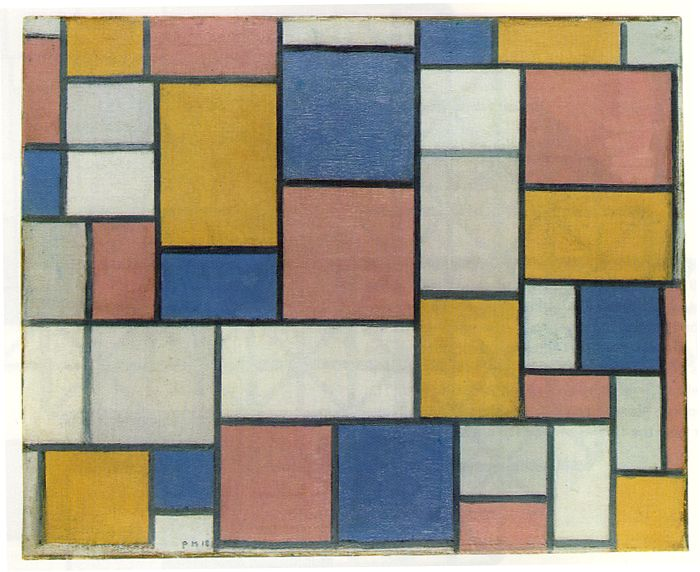 Piet Mondrian's Composition with Color Planes and Gray Lines 1 (1918)